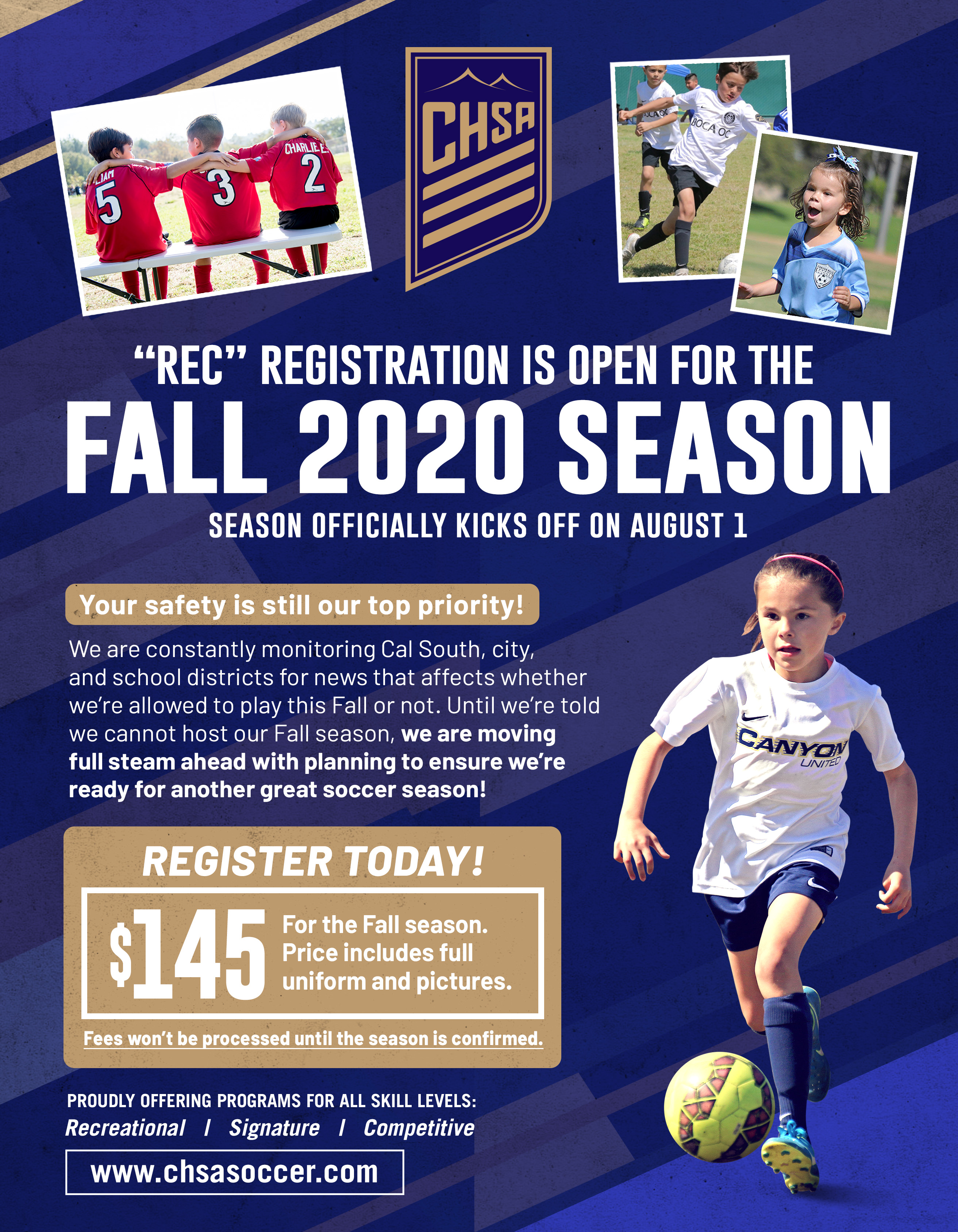 CHSA FALL 2020 REGISTRATION IS NOW OPEN!